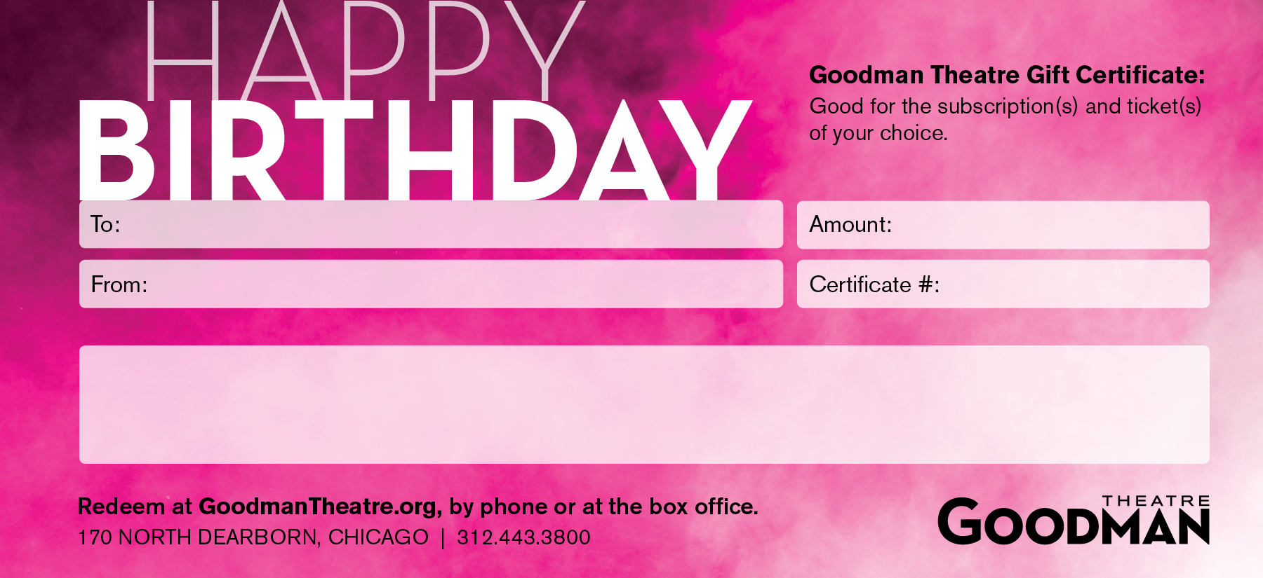 Gift certificates goodman theatre for Happy birthday gift certificate template