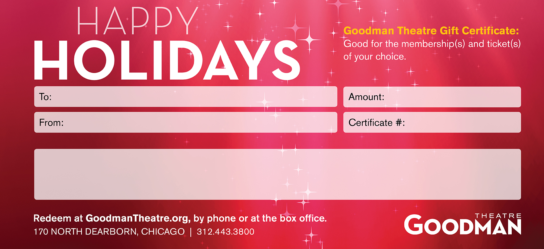 gift certificates goodman theatre