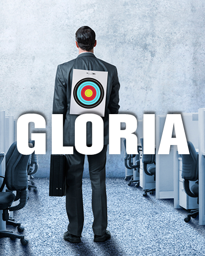 Gloria poster with a business man who has a target on his back