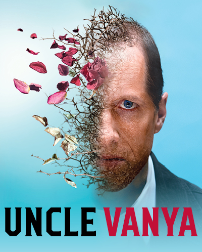 Uncle Vanya poster features a man's face with one half comprised of leaves and branches